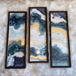 Blue marble 3 piece framed wall art decor 10 x 30